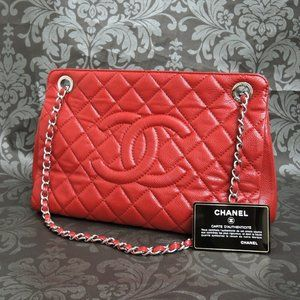 Chanel Caviar Skin Red Leather Bag! MINT!